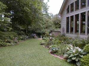 Den bed, lawn, azaleas