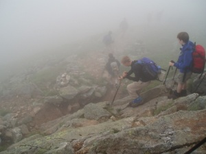 Ah youth! Boy Scout Troop 2 descending Mt Monroe. We'd never have made it, even with good knees and ankles. Photo by Mark Mainati