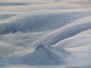 At least it wasn't this. The hut entirely obscured by clouds. Photo by Mt. Washington Observatory