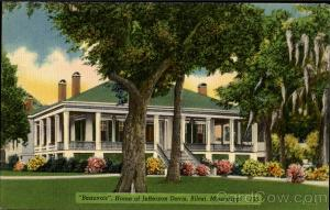 A postcard view of lovely Beauvoir, finished in 1850, home of Jefferson Davis