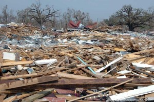 Storm surge debris in Pass Christian, MS, August 29, 2005