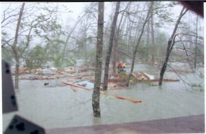 Taken from the second story during Katrina by Barbara Bradford, whose husband swam out to rescue the marooned man