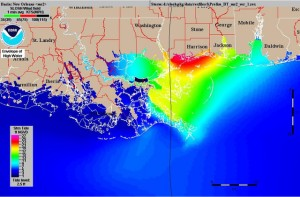 Storm surge map shows greatest surge in Waveland area but surge extended along the coast