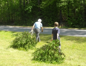 "Grandpa and Tommy ""volunteer to haul choppings to compost"