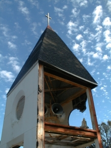 Christ Episcopal Churc belfry still stands along the coast