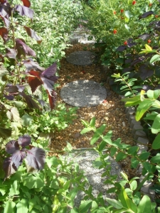 The path is river run and stepping stones with concrete edgers to keep the trespassers out