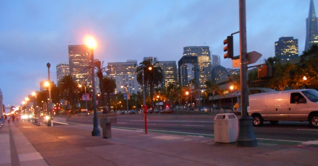 An evening stroll along the Embarcadero. Hard to believe this is all on fill