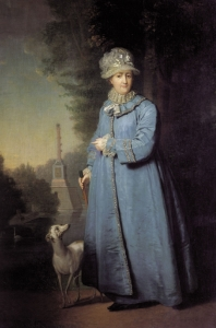 Catherine the Great with her whippet dog in her gardens, oil by Vladimir Borovikovsky c 1794. Chesme Column in the background commemorates Russian naval victories in Turkey