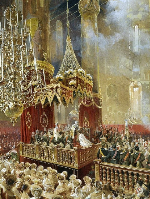 A stunning painting by Mihaly Zichy of Alexander's coronation in 1856. Here, the emperor is crowning the empress