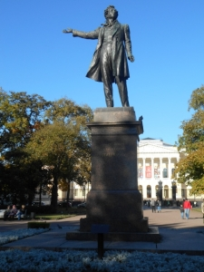 Pushkin the poet hailing a cab outside of the Russian Museum