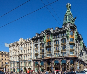 Another Nevsky art nouveau landmark, the Singer Building, largest bookshop in the city
