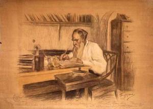 Leo Tolstoy, study by Leonid Pasternak (Boris' father) 1908