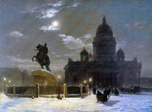 The Bronze Horseman and St. Isaac's Cathedral, oil on canvas by Vasilii Surikov, 1870