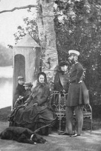Alexander with his family and Milord, 1864