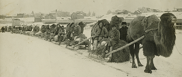 An ARA transport column on the frozen Volga, Tsaritsyn.
