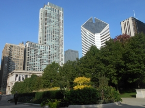 Skyscrapers rise above the gardens in Millennium Park
