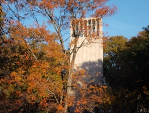 The carillon bathed in fall colors on a sunny day