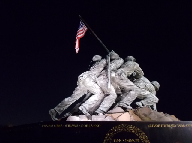 Flag raising at Iwo Jima. As you circle the monument the flag appears to change position