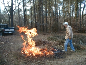 Incidental picture of Ranger hiding in the woods.The fire was more fun